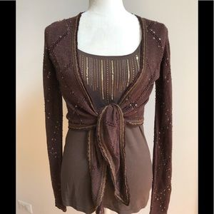 Cache Sweaters - Cache Espresso Brown Cropped Shrug Cardigan